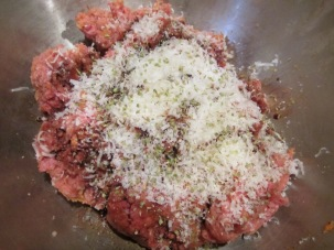 Meatloaf filling with Parmesan, oregano, and balsamic vinegar added.