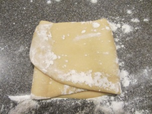My dough, folded in thirds and ready to go back through the machine.
