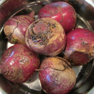 Beets, ready to be be steamed.