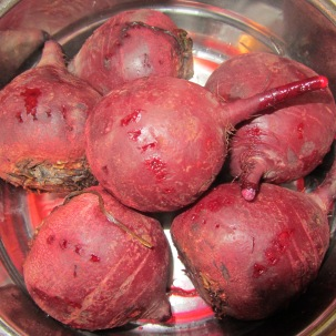 Beets, after steaming for about 15 minutes.