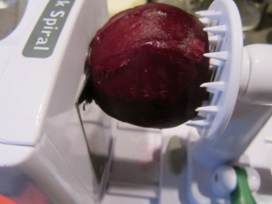 Beet, peeled and ready to be spiralized.