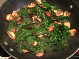 Beet greens after wilting down.