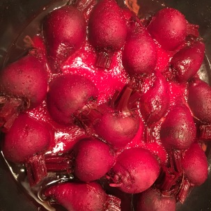 Beets after cooking for 10 minutes.