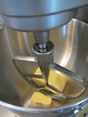 Butter-flavored shortening in the mixer.
