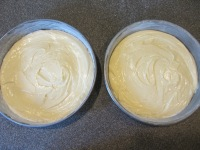 The final cake batter, divided between two 9-inch cake pans.