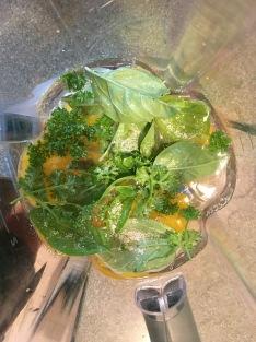 Eggs, water, Kosher salt, and fresh herbs in the blender.