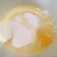 Yogurt, vegetable oil, sugar, and an egg.