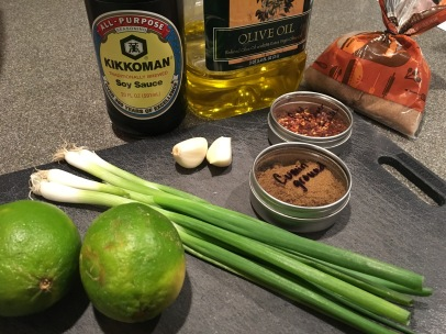 Ingredients for marinade: olive oil, soy sauce, scallions, garlic, lime juice, red pepper flakes, cumin, and dark brown sugar.