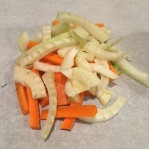 1/3 C carrots and 1/3 C fennel on right side of parchment heart.