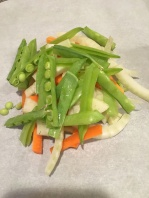 1/3 C carrots, 1/3 C fennel, and 1/3 C snow peas on right side of parchment heart.