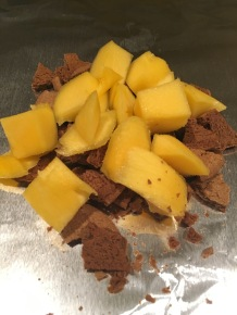 Chopped mango added to gingersnaps.