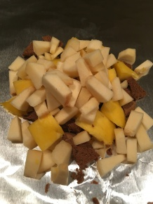 Chopped quince added to foil.