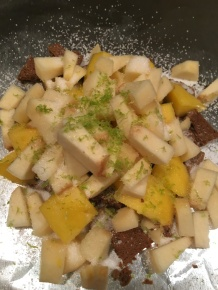 Sugar, lime zest, and salt added to fruit.