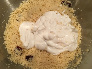 Vanilla yogurt added to couscous.