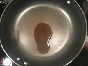Oil, heating in skillet.