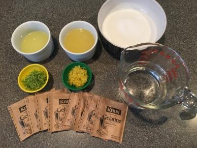 Ingredients for jellies: lime juice, lemon juice, sugar, lime zest, lemon zest, water, and gelatin.