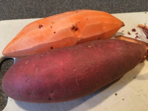 1 1/4 pounds of sweet potatoes, being peeled and cubed for steaming.