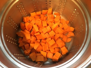 Steamed sweet potatoes.