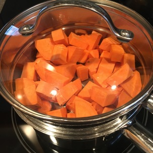 Peeled and cubed sweet potatoes in steamer for 20 minutes.