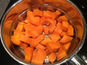 Steamed sweet potatoes.