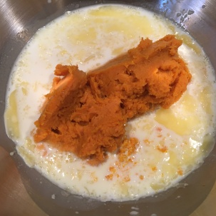 Milk, light brown sugar, melted butter, orange zest, and mashed sweet potato.
