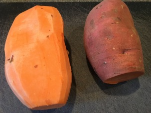 1 1/4 pounds of sweet potato, being peeled and cubed.