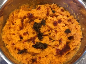 Chopped chipotle and adobo sauce added to mashed sweet potatoes.
