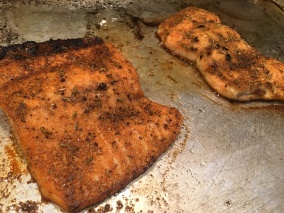 Broiled salmon.