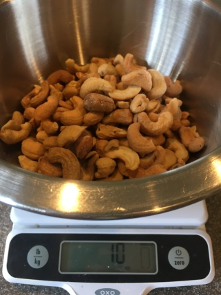 Ten ounces of roasted/unsalted cashews.