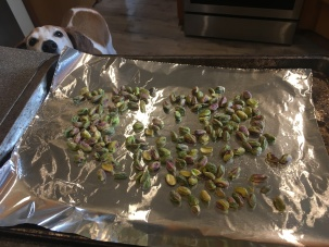 Pistachios before toasting in the oven.