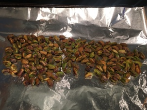 Pistachios after toasting in the oven.