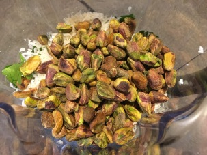 Pistachios in the blender.
