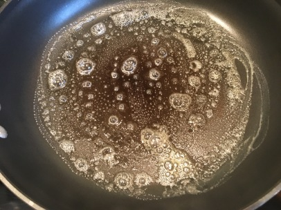 Buttered skillet, ready for bread.