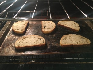 Bread under the broiler.