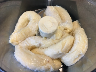 Thawed bananas in food processor.