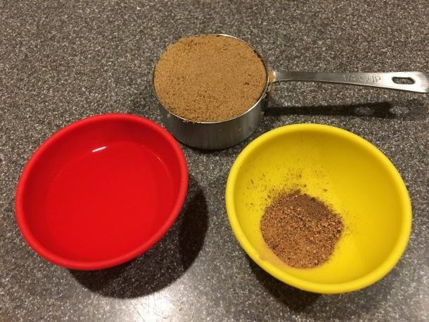 Brown sugar, allspice, nutmeg, and banana liqueur.