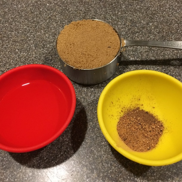 Brown sugar, allspice, nutmeg, and banana liqueur.
