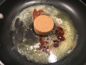 Brown sugar and spices added to butter.