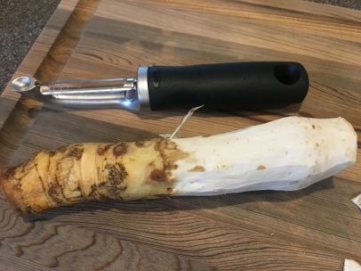 Peeled horseradish root.