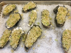 Topping placed on shucked oysters.