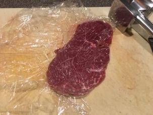 Pounded beef tenderloin.