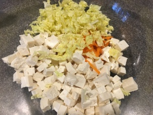 Cubed tofu, grated carrot, and Napa cabbage.