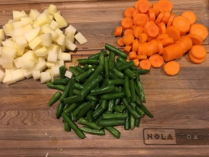 2 C each of peeled potato, peeled carrot, and green beans.
