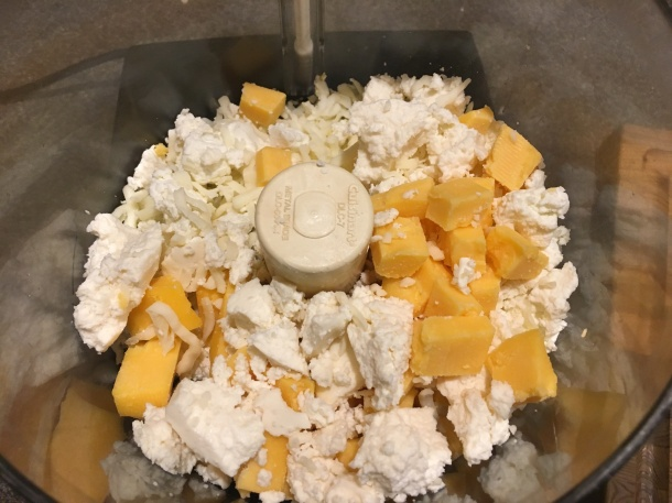 Cheese in the food processor.