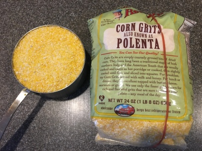 A cup of coarse cornmeal.