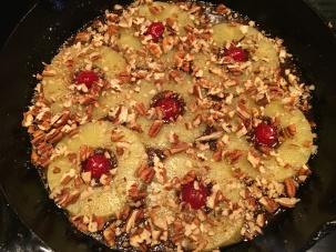 Toasted pecans sprinkled over pineapple.