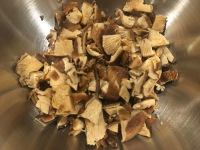 Chopped mushrooms added to cherries and pecans.