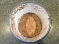 Combined dry pudding mix.