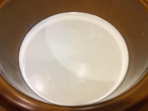 Milk, cream, and Kosher salt added to tapioca.