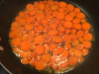 Carrots after cooking for five minutes.